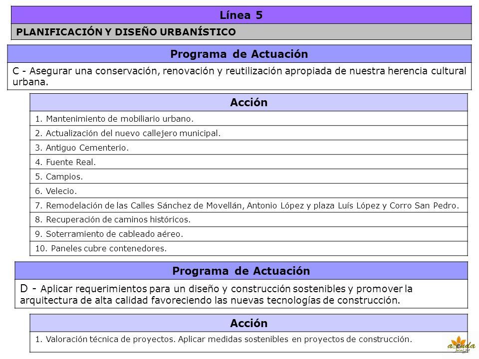 Línea 5 Programa de Actuación Acción Programa de Actuación Acción