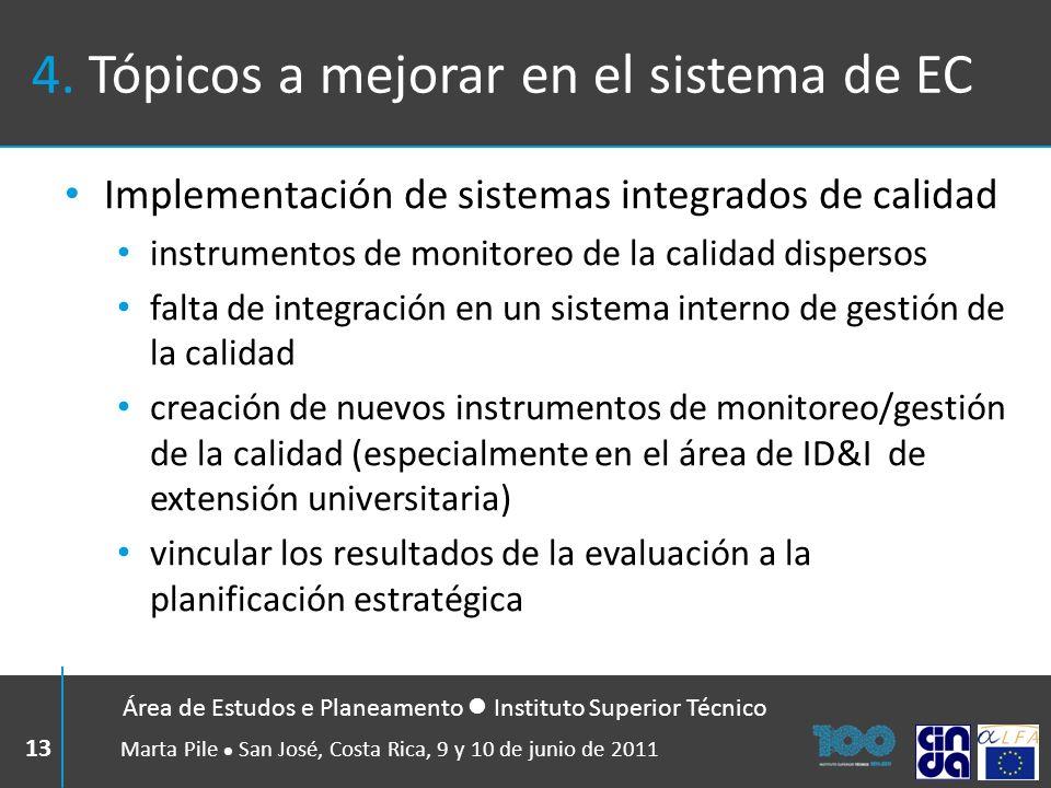 4. Tópicos a mejorar en el sistema de EC