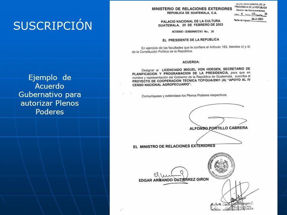Ejemplo de Acuerdo Gubernativo para autorizar Plenos Poderes