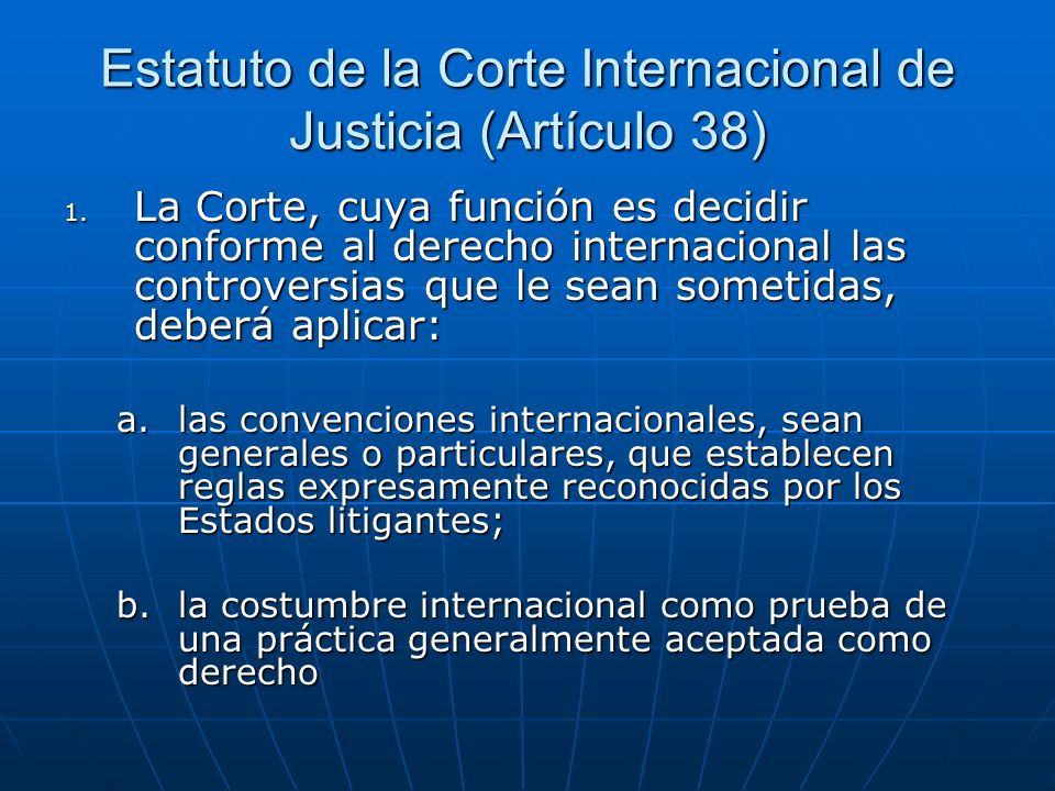 Estatuto de la Corte Internacional de Justicia (Artículo 38)