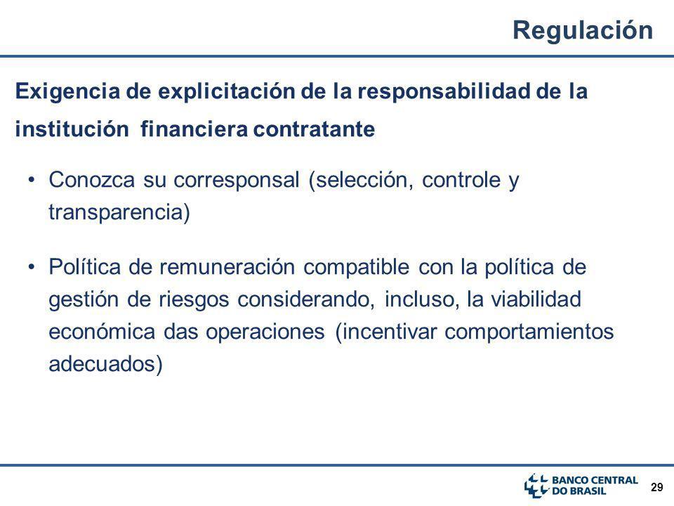 Regulación Exigencia de explicitación de la responsabilidad de la institución financiera contratante.