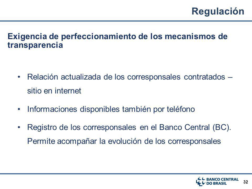Regulación Exigencia de perfeccionamiento de los mecanismos de transparencia.