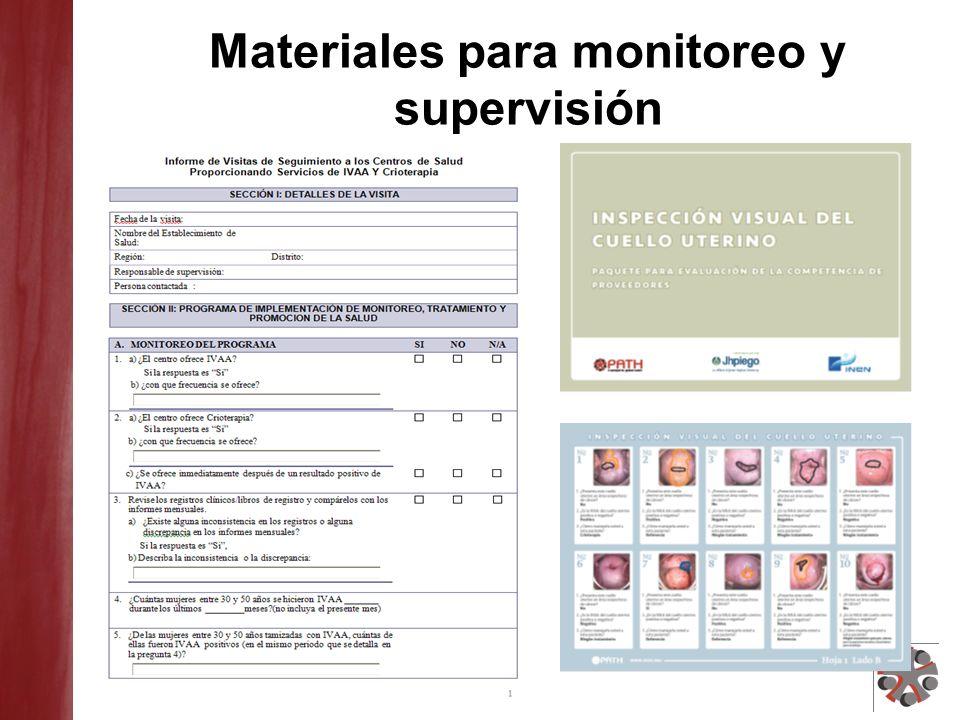 Materiales para monitoreo y supervisión