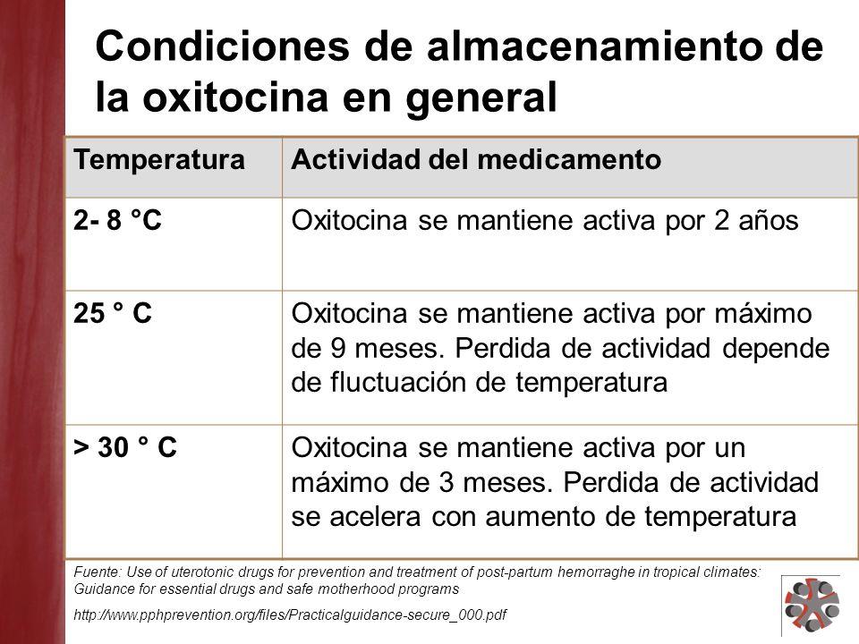 Condiciones de almacenamiento de la oxitocina en general