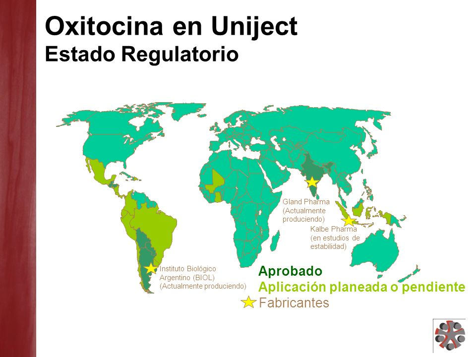 Oxitocina en Uniject Estado Regulatorio