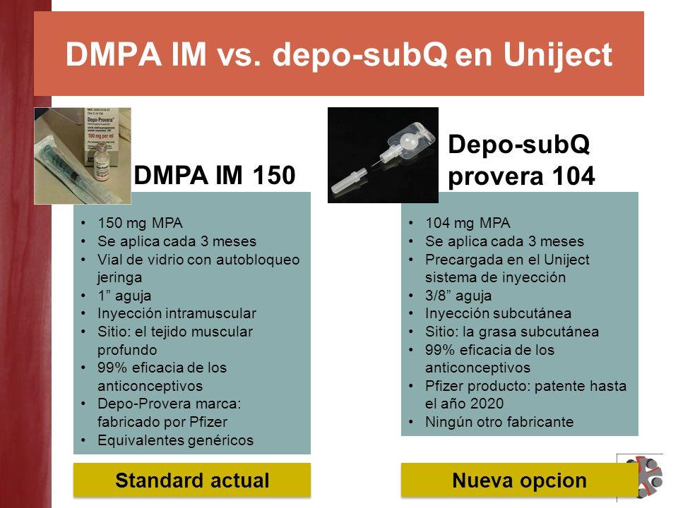 DMPA IM vs. depo-subQ en Uniject