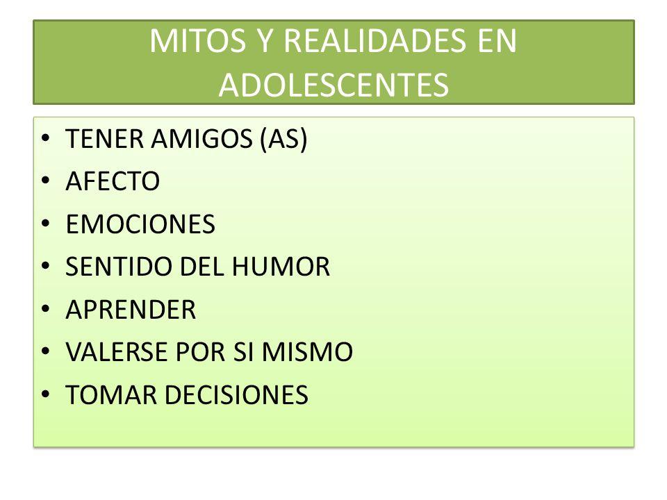 MITOS Y REALIDADES EN ADOLESCENTES