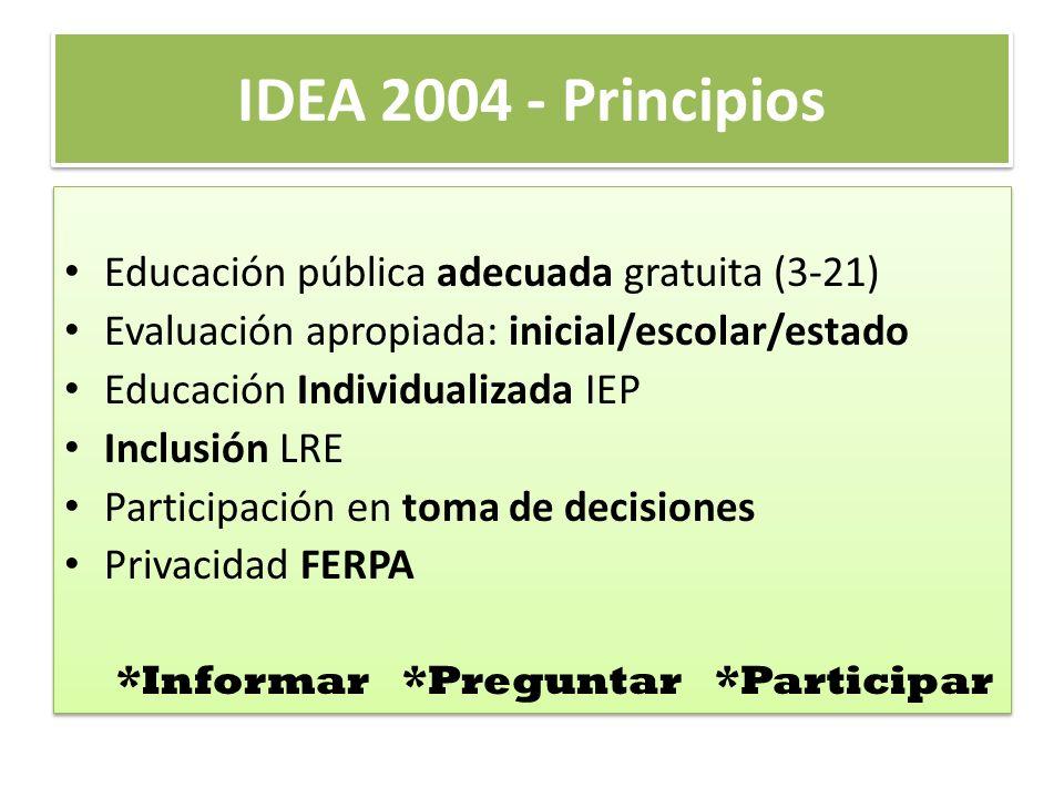IDEA 2004 - Principios Educación pública adecuada gratuita (3-21)