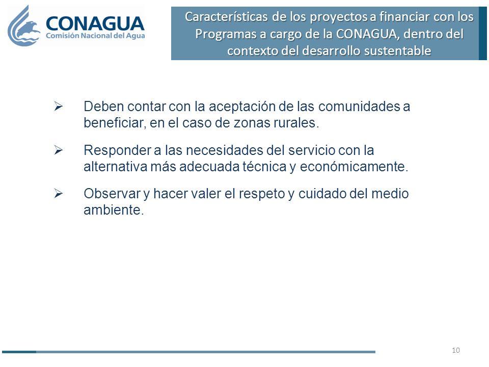 Características de los proyectos a financiar con los Programas a cargo de la CONAGUA, dentro del contexto del desarrollo sustentable