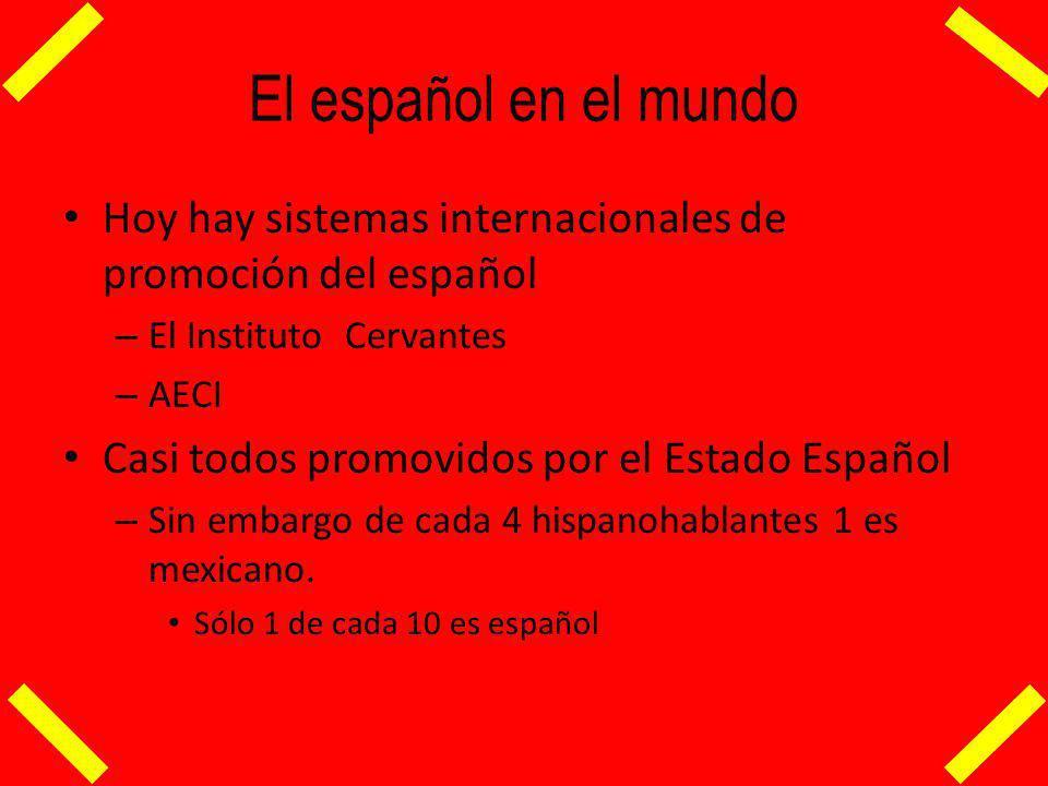 El español en el mundo Hoy hay sistemas internacionales de promoción del español. El Instituto Cervantes.