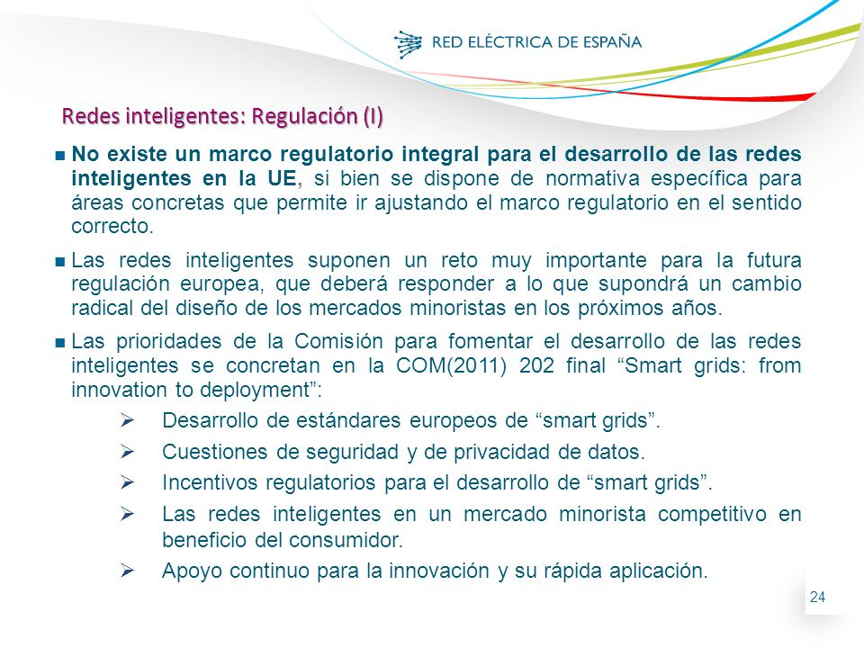 Redes inteligentes: Regulación (I)