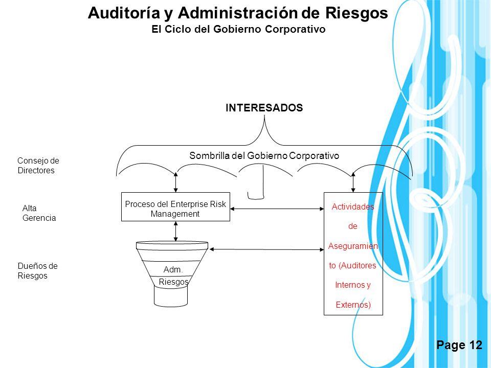 Auditoría y Administración de Riesgos El Ciclo del Gobierno Corporativo