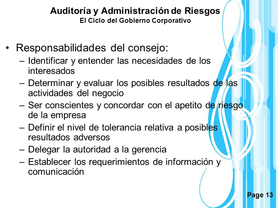 Responsabilidades del consejo: