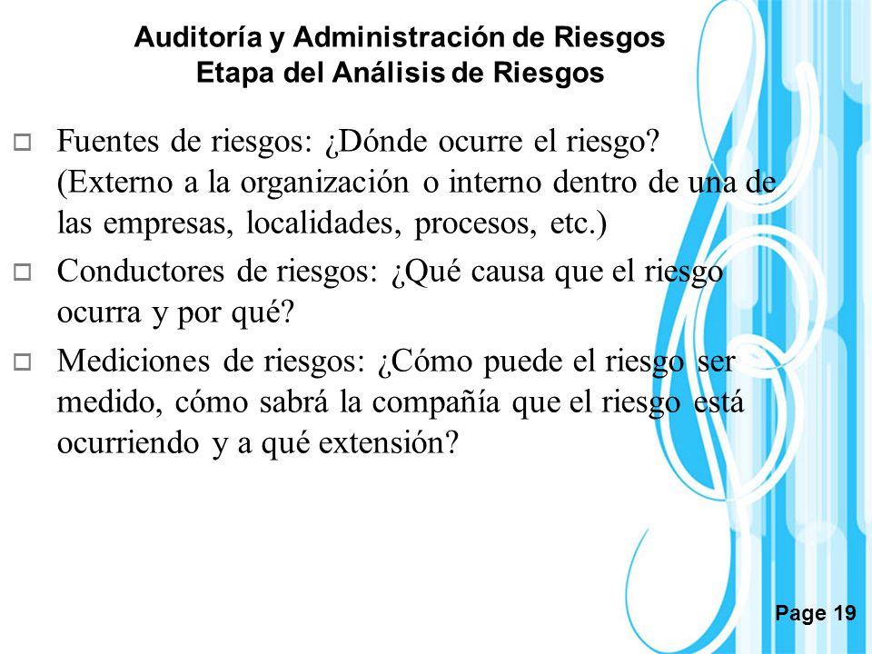 Auditoría y Administración de Riesgos Etapa del Análisis de Riesgos