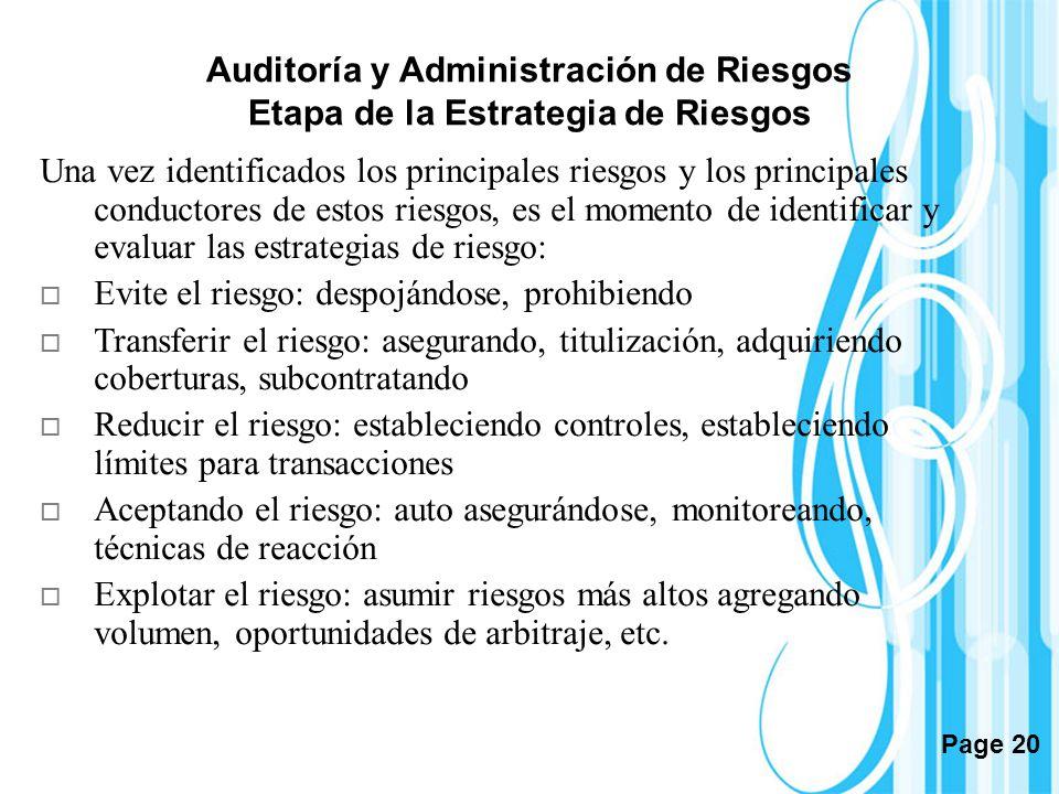 Auditoría y Administración de Riesgos Etapa de la Estrategia de Riesgos