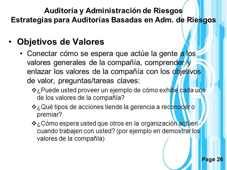 Auditoría y Administración de Riesgos Estrategias para Auditorías Basadas en Adm. de Riesgos