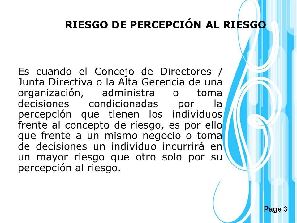 RIESGO DE PERCEPCIÓN AL RIESGO