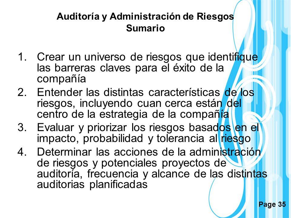 Auditoría y Administración de Riesgos Sumario