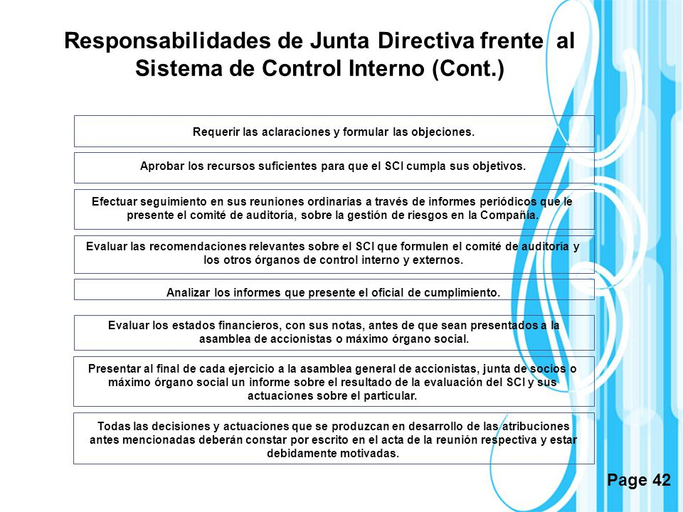 Responsabilidades de Junta Directiva frente al Sistema de Control Interno (Cont.)