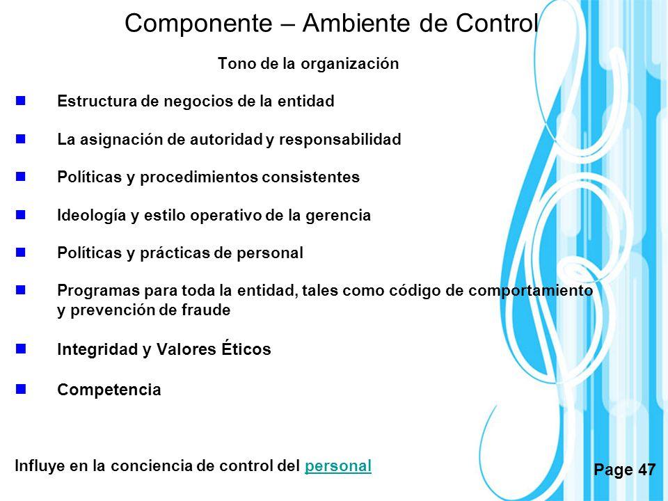 Componente – Ambiente de Control