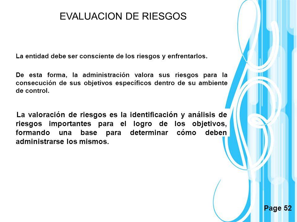EVALUACION DE RIESGOS La entidad debe ser consciente de los riesgos y enfrentarlos.