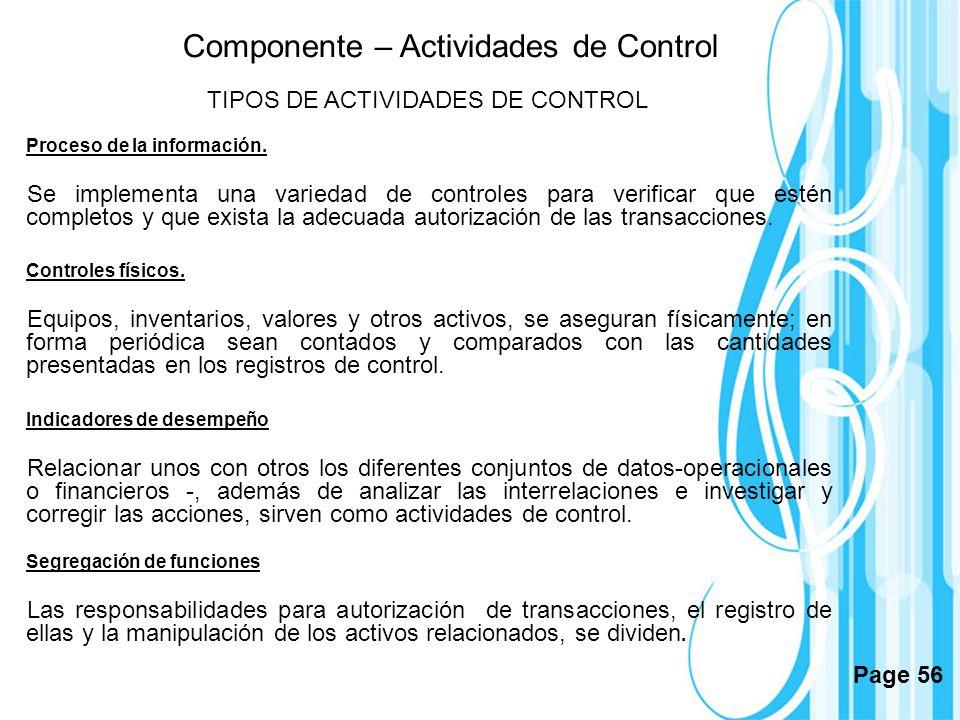 TIPOS DE ACTIVIDADES DE CONTROL