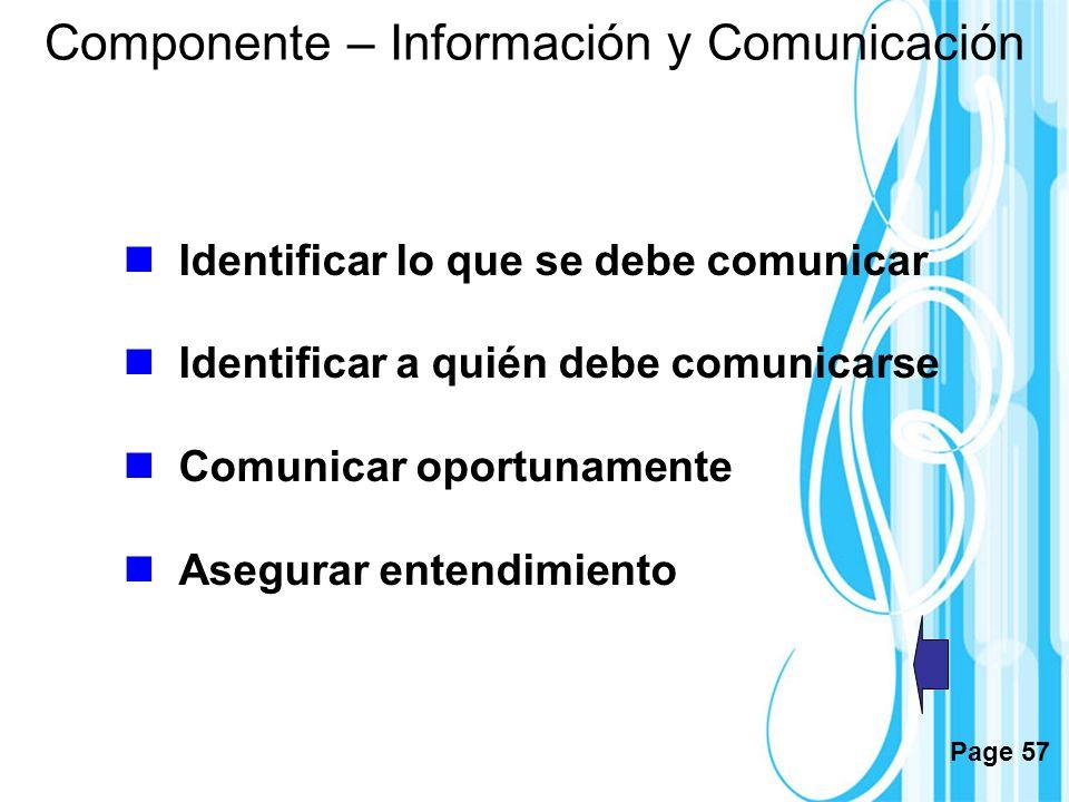 Componente – Información y Comunicación