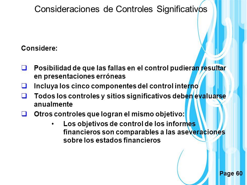 Consideraciones de Controles Significativos