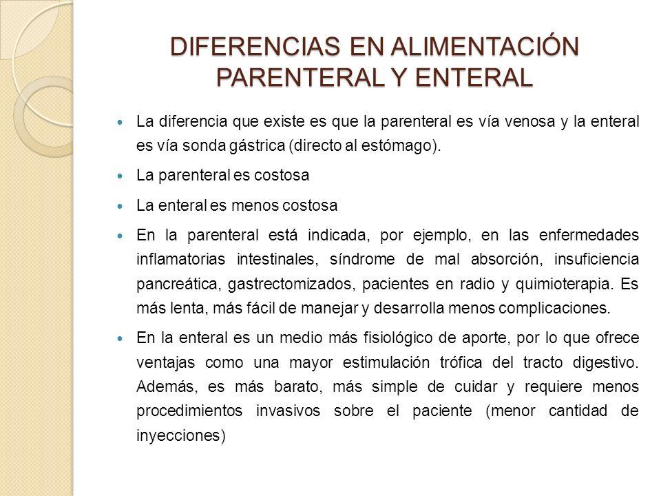 DIFERENCIAS EN ALIMENTACIÓN PARENTERAL Y ENTERAL
