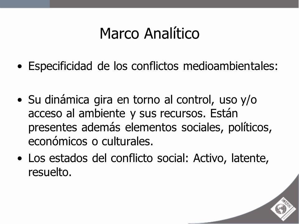 Marco Analítico Especificidad de los conflictos medioambientales: