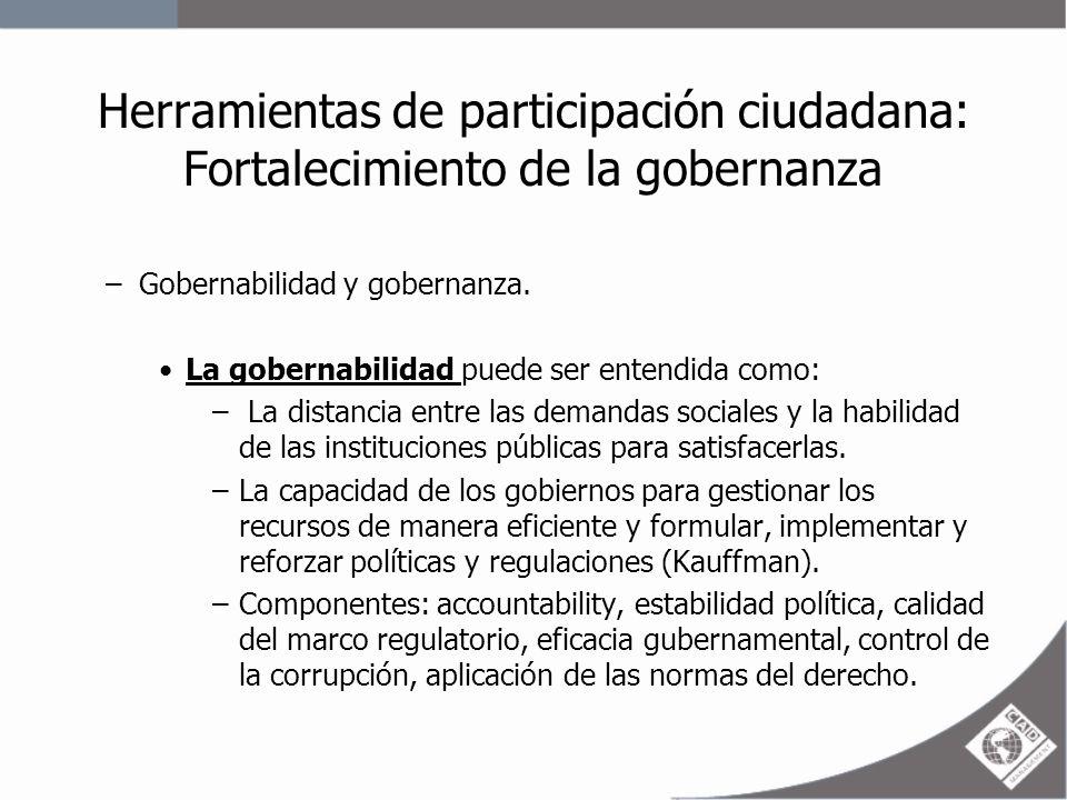 Herramientas de participación ciudadana: Fortalecimiento de la gobernanza