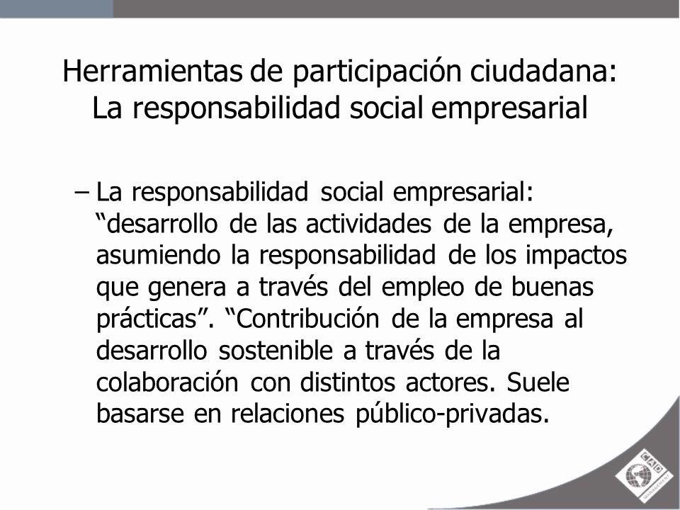 Herramientas de participación ciudadana: La responsabilidad social empresarial