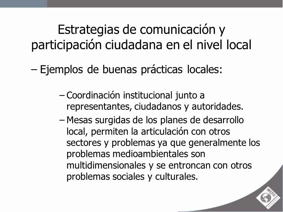 Estrategias de comunicación y participación ciudadana en el nivel local