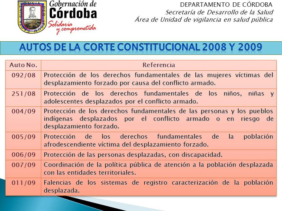 Autos de la Corte Constitucional 2008 y 2009