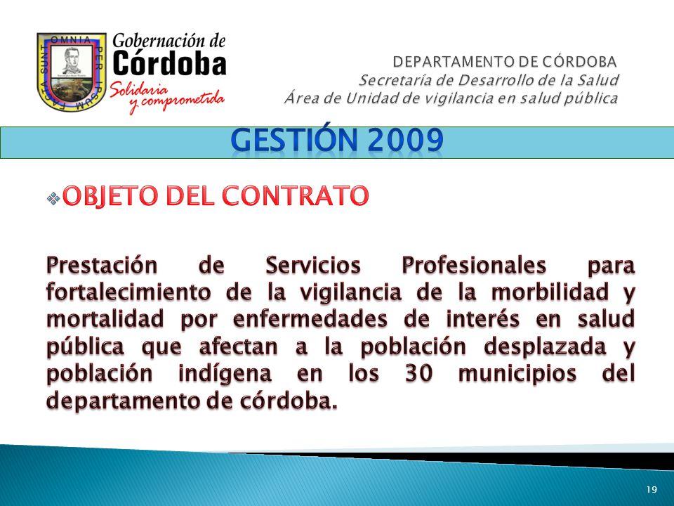 Gestión 2009 OBJETO DEL CONTRATO