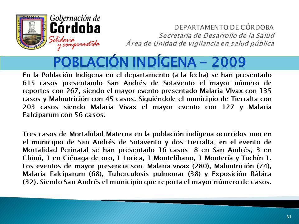 DEPARTAMENTO DE CÓRDOBA Secretaría de Desarrollo de la Salud Área de Unidad de vigilancia en salud pública