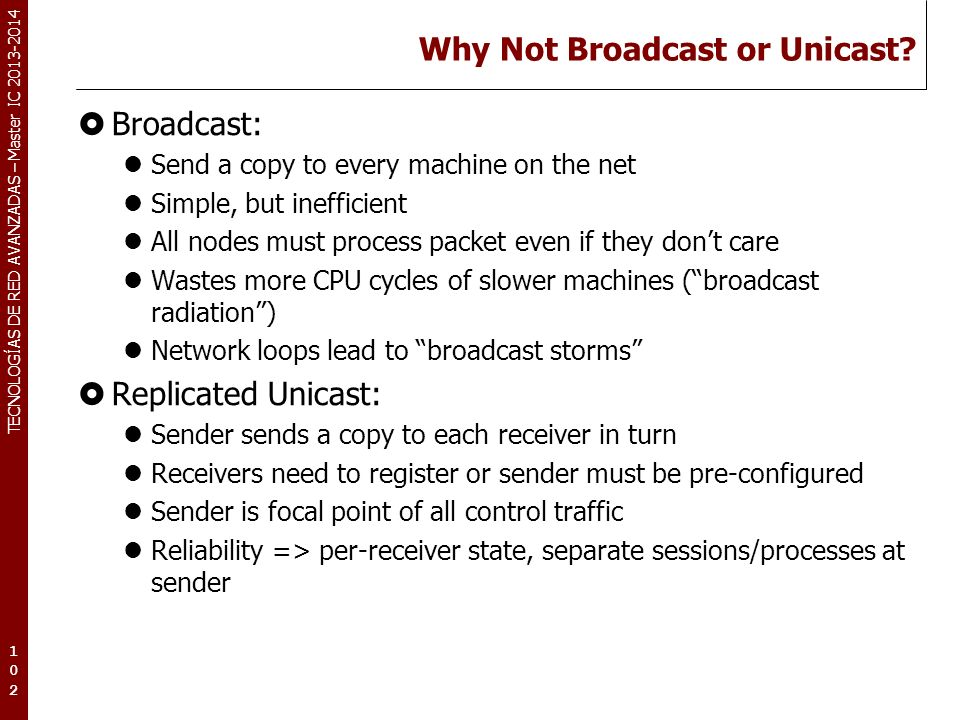 Why Not Broadcast or Unicast