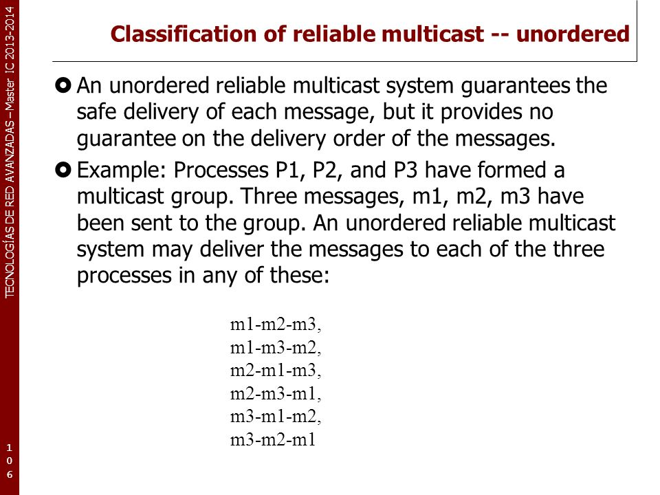 Classification of reliable multicast -- unordered