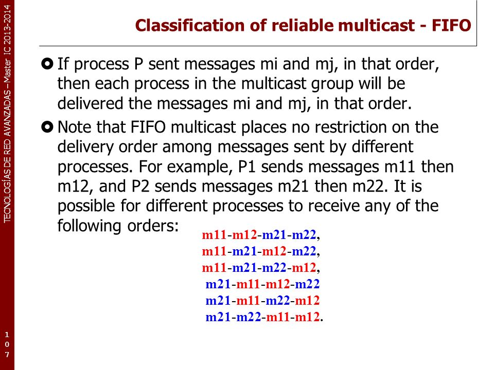Classification of reliable multicast - FIFO