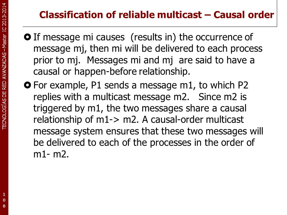 Classification of reliable multicast – Causal order