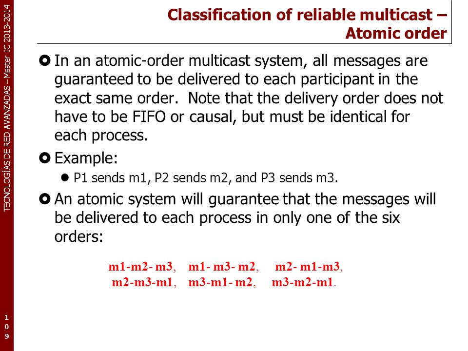 Classification of reliable multicast – Atomic order