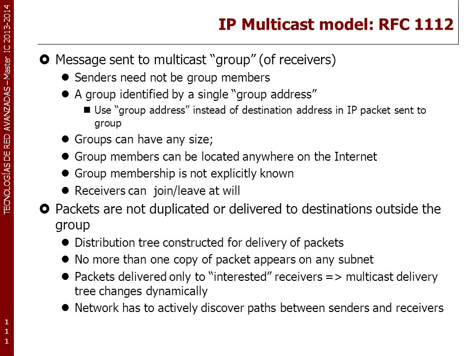 IP Multicast model: RFC 1112