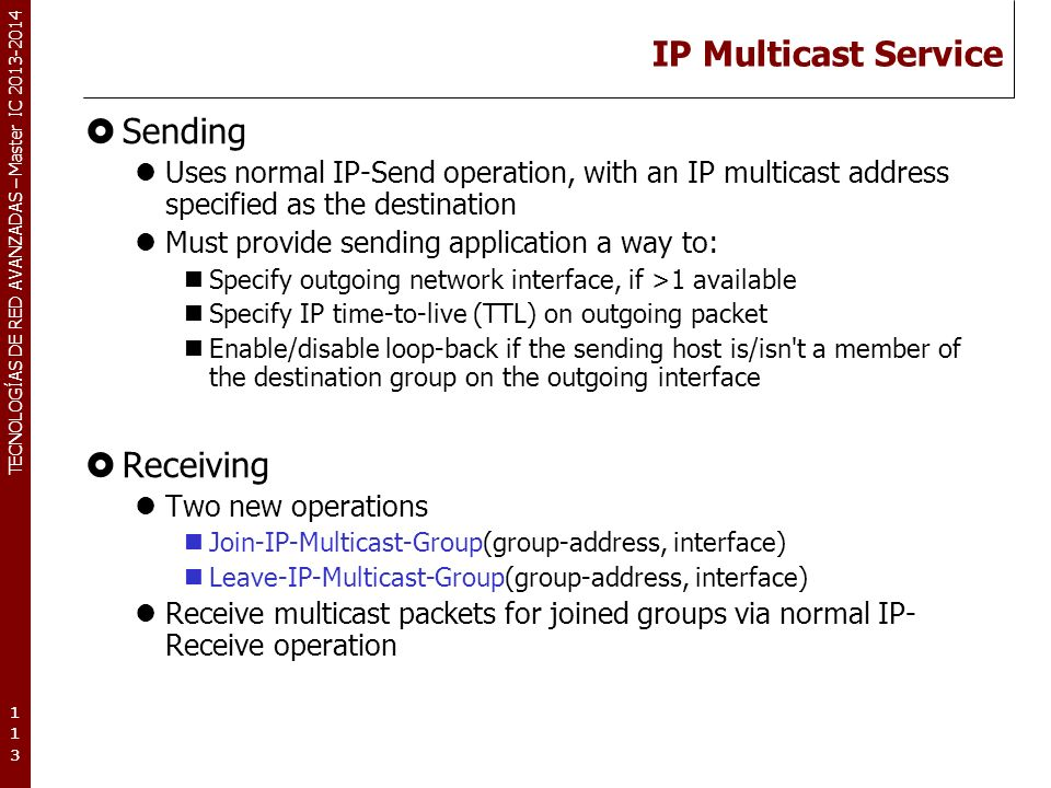 IP Multicast Service Sending Receiving