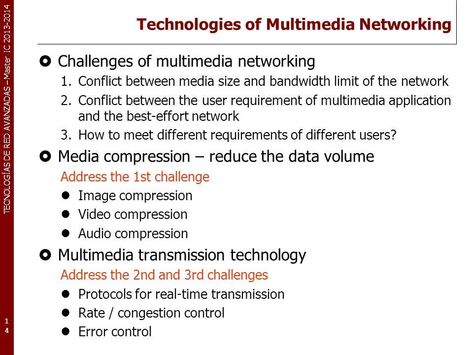 Technologies of Multimedia Networking