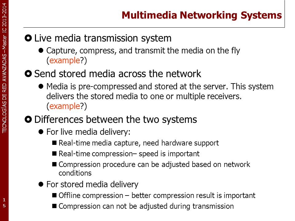 Multimedia Networking Systems