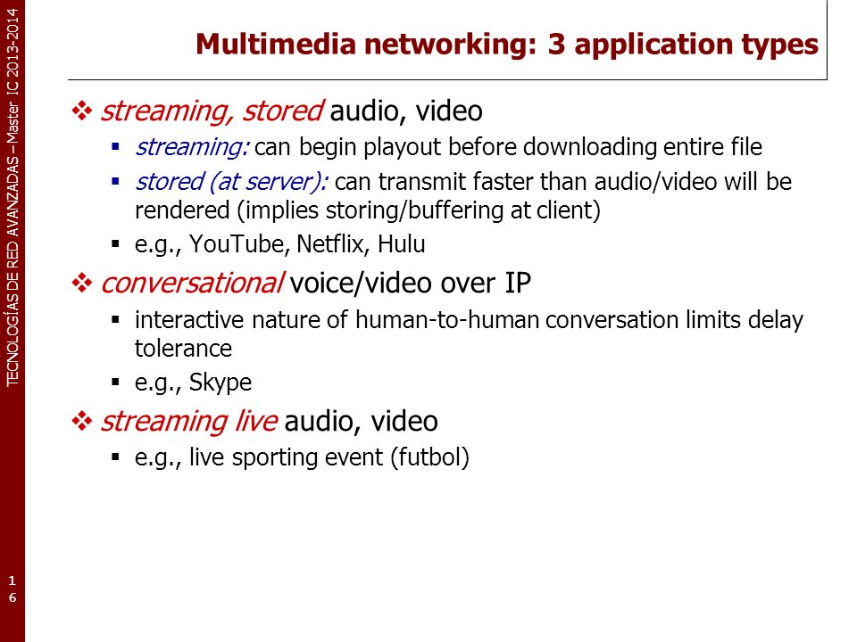 Multimedia networking: 3 application types