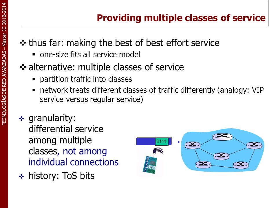Providing multiple classes of service