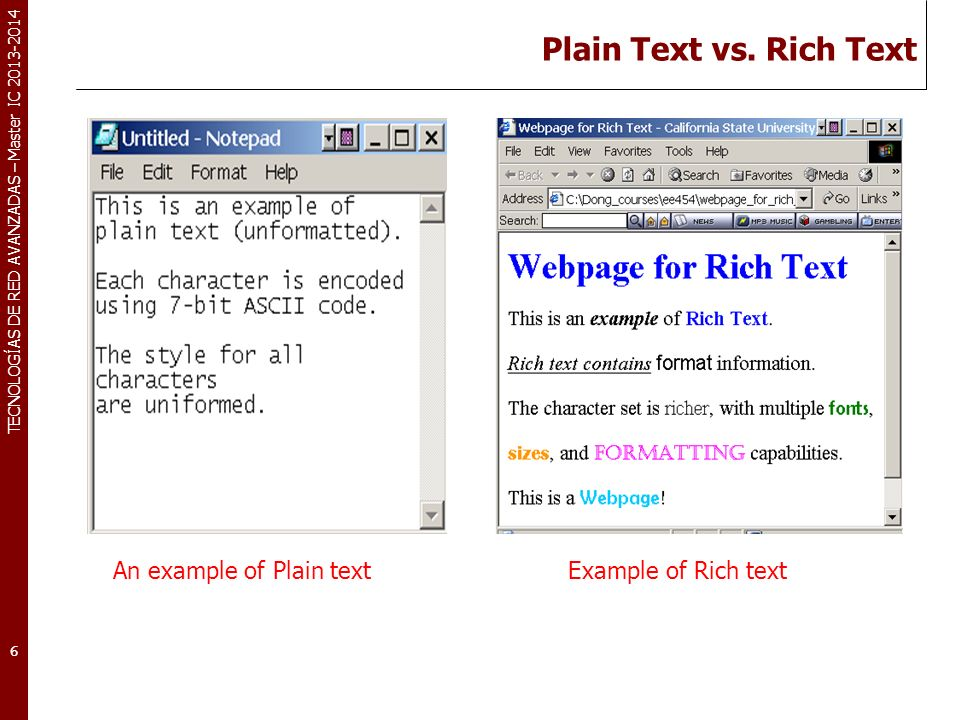 Plain Text vs. Rich Text An example of Plain text Example of Rich text
