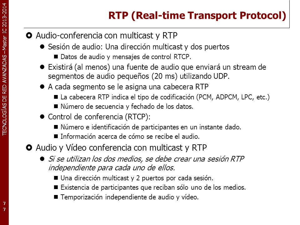 RTP (Real-time Transport Protocol)