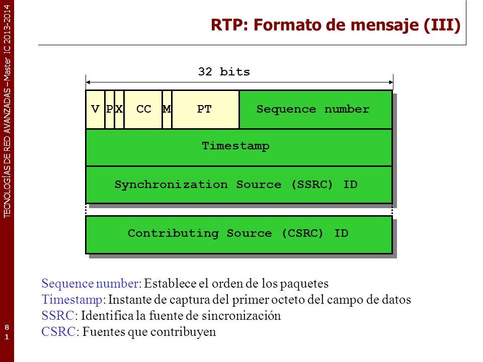 RTP: Formato de mensaje (III)